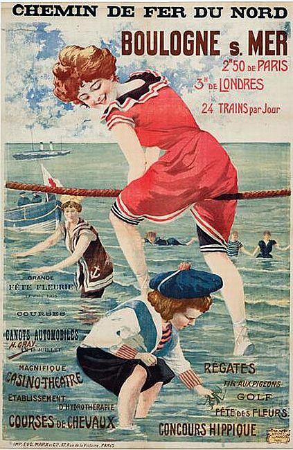 ブローニュ=シュル=メールの海水浴場のポスター