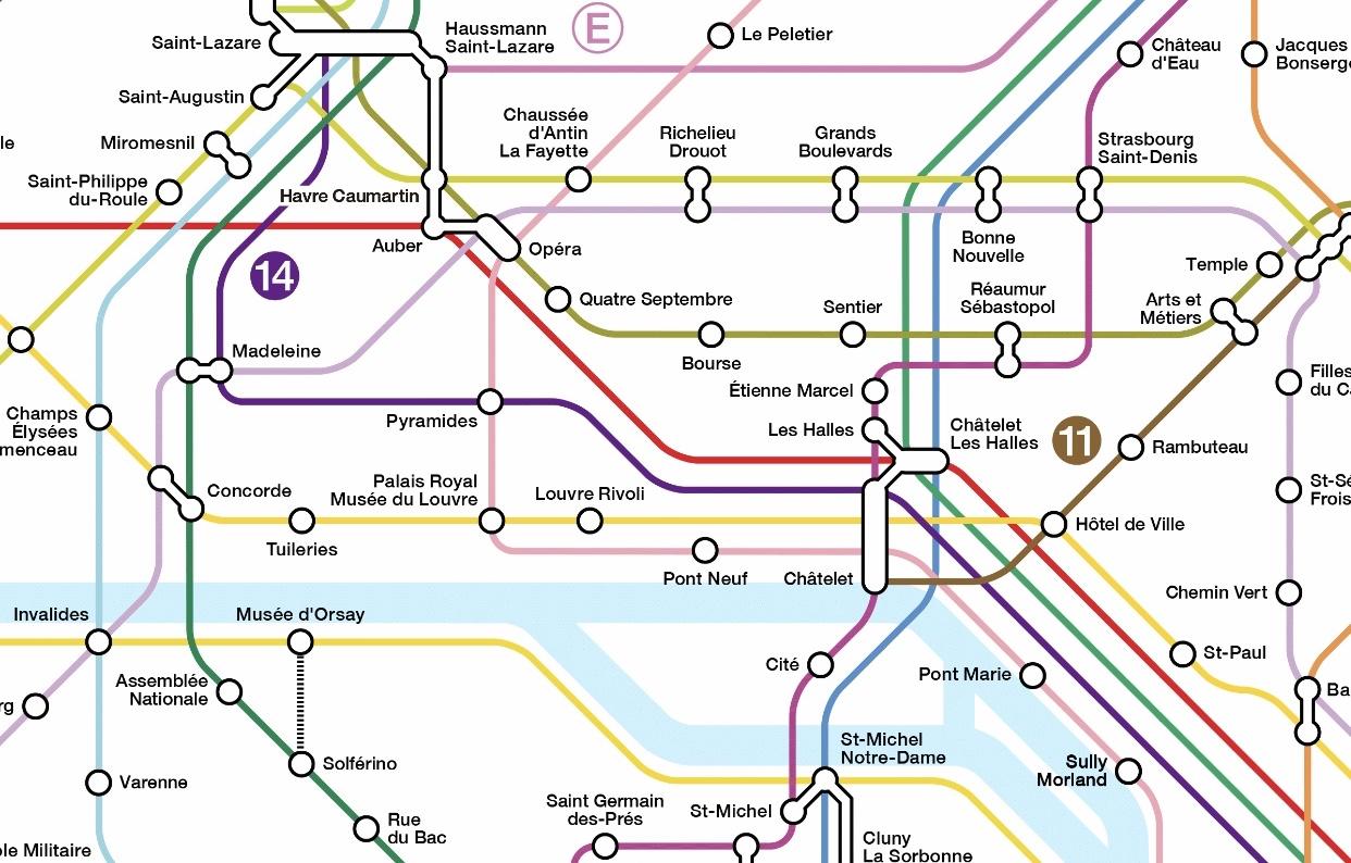 パリの地下鉄路線図