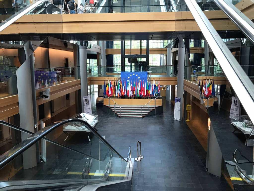 ストラスブールの欧州議会の内部