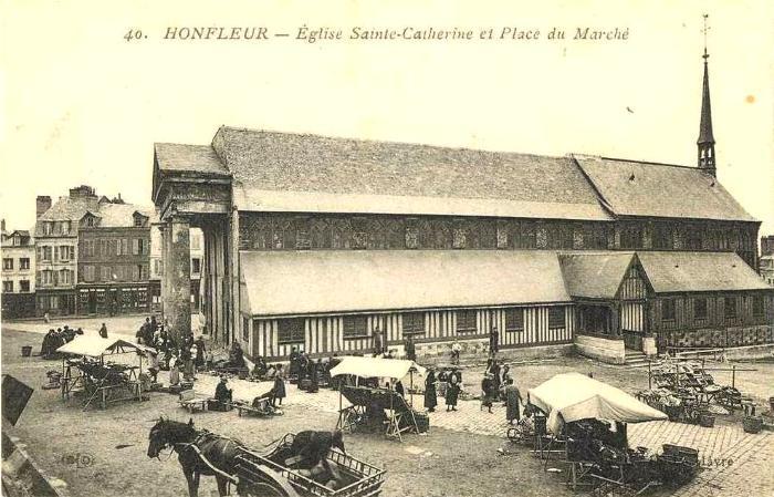 オンフルールのサント・カトリーヌ教会の19世紀の姿。